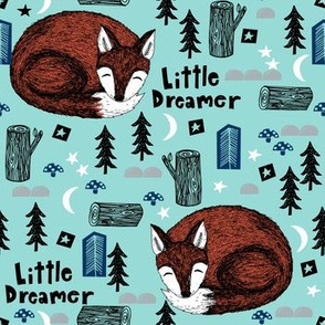 sleeping fox // little dream fox woodland cute camping kids forest