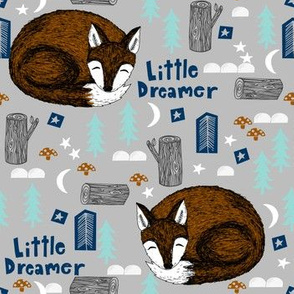 little dreamer // sleeping fox grey cute camping forest woodland sleeping kids design