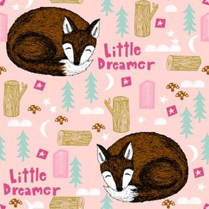 sleeping fox // little dream light pink girls woodland sweet fox camping moon