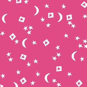 night sky // stars and moon pink girls cut out stars cute little baby nursery