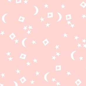 night sky // stars and moon light pink pastel pink girls nursery sweet dreams little dream sleeping night sky