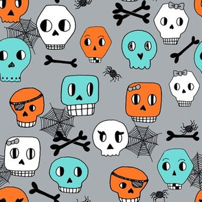 skulls // halloween october kids orange mint grey spider spiderwebs