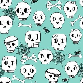 skulls // halloween mint bones spider spiderweb october kids mint skulls