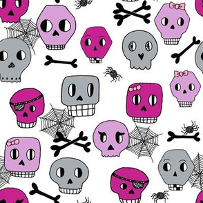 skulls // halloween skull spider spiderweb grey and purple kids girls october fall