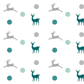 Deer - dotty gray teal