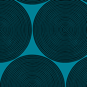 vinyl records on teal