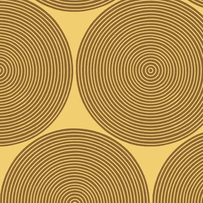 Log-ends in brown on gold