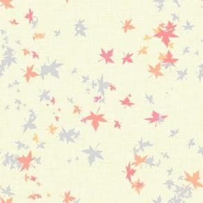 Maple Leaves on Cream Linen