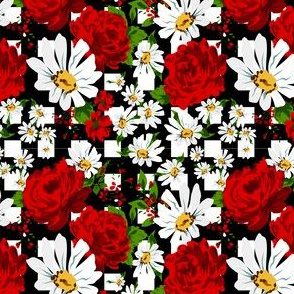Red roses pattern with chamomiles