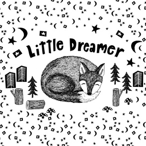 little dreamer baby blanket // cute black and white sleeping fox black and white fox baby nursery blanket