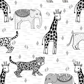 jungle // safari zoo kids white and grey minimal animals