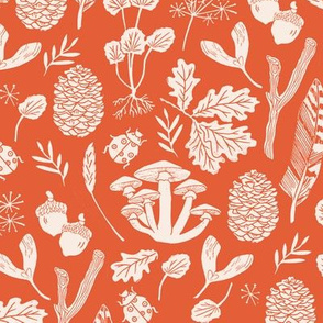 nature walk // linocut orange oak l eaves pinecones kids baby fall autumn
