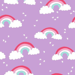 rainbow // rainbows purple pastel lilac sky stars cute girls sweet pastels