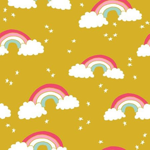 rainbow // rainbows mustard yellow pink sky stars girls