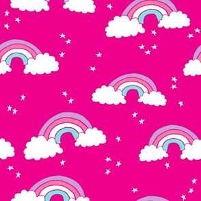 rainbow // rainbows bright pink cute girls clouds purple pink stars sky
