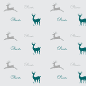 Deer Gray - gray teal personalized Oliver