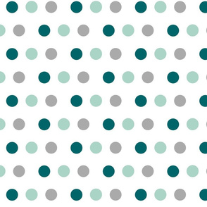 Deer - dotty dots  gray teal