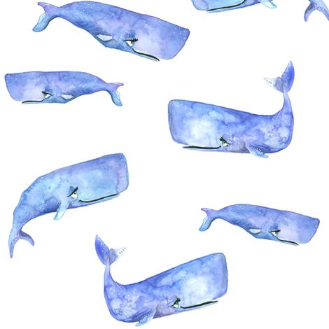 Purple Watercolor Whales
