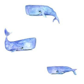 Purple Watercolor Whales - Spread Apart