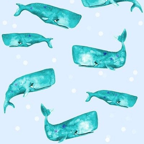 Teal Watercolor Whales on Blue with Bubbles