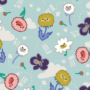 KAWAII flowers blue