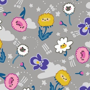 KAWAII flowers grey