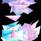 Quartz Crystal Watercolor Clusters in Black