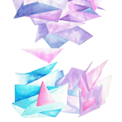 Quartz Crystal Watercolor Clusters in White