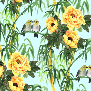 Yellow Peony, Bamboo and Birds