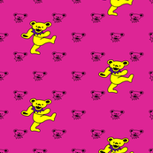 """4x4 Mini bear head Pink Background with Large 2"""" Yellow and Purple Dancing bear Grateful Dead"""
