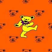 "4x4 Mini bear head Orange Background with Large 2"" Yellow and Purple Dancing bear Grateful Dead-ed"