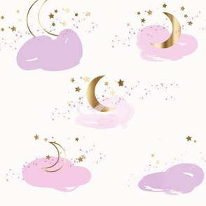 Stars moons pink lavender and gold