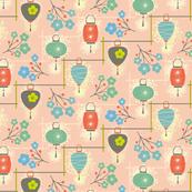 garden lanterns - pink