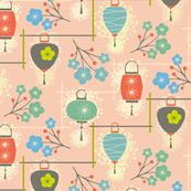 japanese garden lanterns - pink