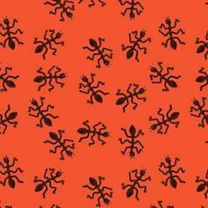 Scattered Ants on a Red Background