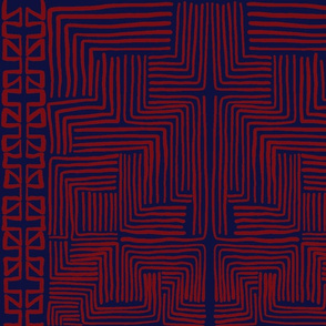 Red on Indigo Blue African Mudcloth inspired shapes