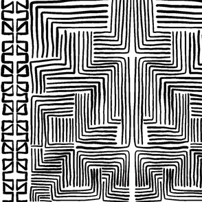 White on Black African Mudcloth inspired shapes