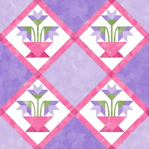 Cheater Quilt Basket of Lilies Pattern Lilac Pink Green