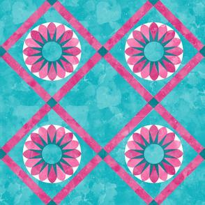 Cheater Quilt Sunflower Pattern Aqua Pink