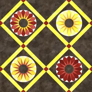 Cheater Quilt Sunflower Pattern Brown Yellow Orange