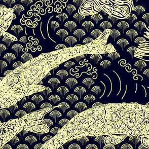 Koi Pond with Waves, Gold on Deep Navy Blue