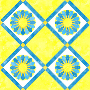 Cheater Quilt Sunflower Pattern Yellow Blue White