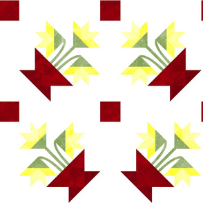 Cheater Quilt Basket of Lilies Pattern Red Yellow Green