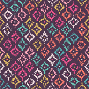 Colorful tribal seamless pattern with grunge effect pixelated