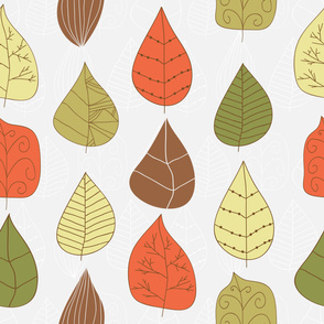 Cute multicolor hand drawn leaves.