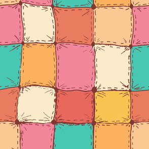 Colorful painted watercolor patchwork quilt.
