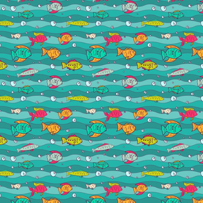 Background with cute fishes floating in the sea.