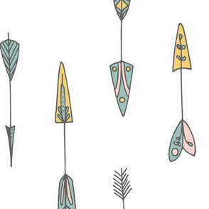 Cute pastel arrows in a white background