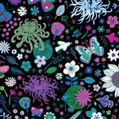 Japanese garden - Aqua Pink and Blue
