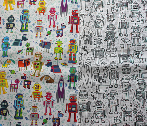 Robots in Space - on grey